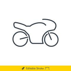 Simple Motorcycle Icon / Vector - In Line / Stroke Design with Editable Stroke