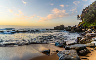 Dawn Seascape with Rocks and Reflections