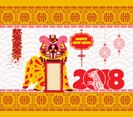 Lion dancing head and chinese new year 2018 with firecracker