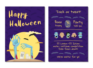 Halloween party invitation with monster hands