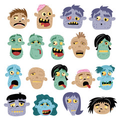 Funny zombie avatar icon set in cartoon style
