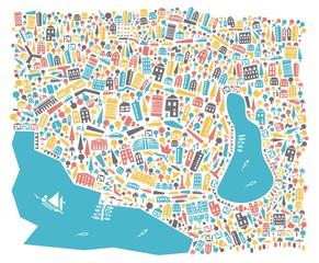 Vector city map. A cartoon city map with houses, parks, cafes.. Цветная карта Ялты с достопримечательностями