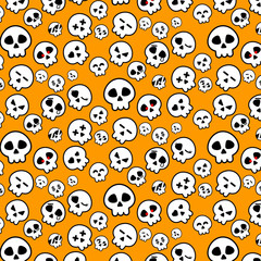 Simple line of Halloween Skeleton head icon pattern in variety emotion on Orange background for illustrator vector design concept