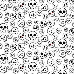 Simple line of Halloween Skeleton head icon pattern in variety emotion on White background for illustrator vector design concept