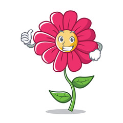 Thumbs up pink flower character cartoon