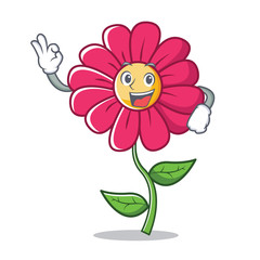 Okay pink flower character cartoon