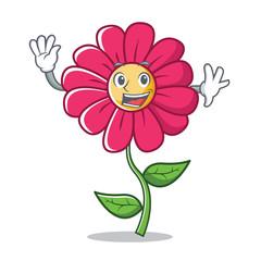 Waving pink flower character cartoon
