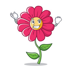 Successful pink flower character cartoon