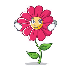 Smirking pink flower character cartoon