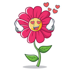 In love pink flower character cartoon