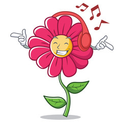 Listening music pink flower character cartoon