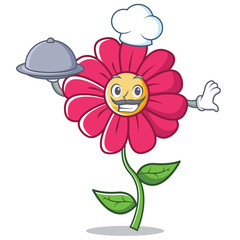 Chef pink flower character cartoon