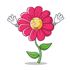 Tongue out pink flower character cartoon