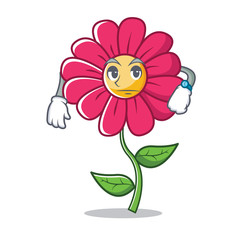 Waiting pink flower character cartoon