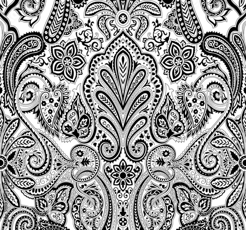 Black And White Paisley Pattern Stock Image And Royalty Free Vector