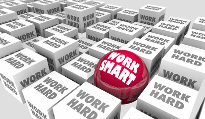 Work Smart Vs Hard Better Process System Procedure Efficiency 3d Illustration