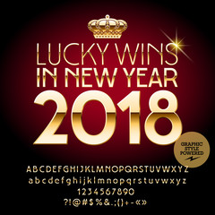 Vector casino Happy New Year greeting card. Set of Alphabet letters, symbols, numbers. Golden Font contains Graphic Style