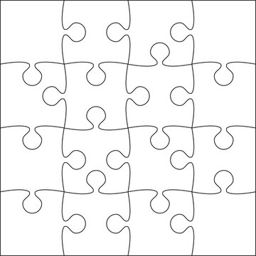 16 White Puzzle Pieces - JigSaw - Vector