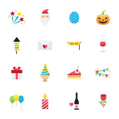 Celebration Party Icons. Set of Happy Holidays Icons Vector Illustration Color Icons Flat Style.