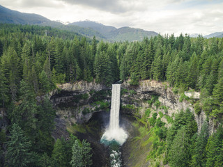 Drone View of Waterfall by Whistler, Canada