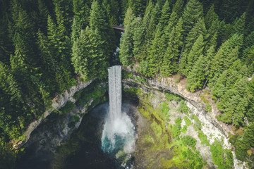 Stylized Aerial View of Waterfall in British Columbia Wilderness