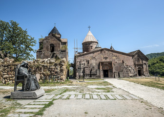Foto op Canvas Monument The monastery complex Goshavank/Armenia. The monastery complex Goshavank. Exterior with a monument to the founder of the monastery Mkhitar Gosh.