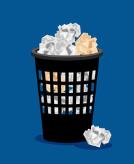 Garbage bin and crumpled paper vector illustration