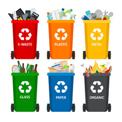 Trash in garbage cans with sorted garbage. Recycling garbage separation collection and recycled