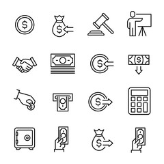 Simple collection of auction related line icons