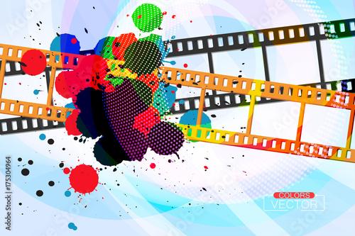 Abstract Grunge Colors Ink Splatter On Film Vector Wallpaper