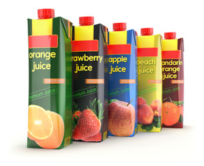 Multicolored set of juice carton box on white background