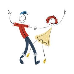 Doodle stickman illustration concept. Dancing couple