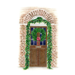クリスマスデコレーションされた扉