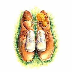 大人の靴と子供の靴