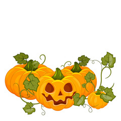 Cartoon halloween pumpkin wearing witch hat isolated. Stock vector.