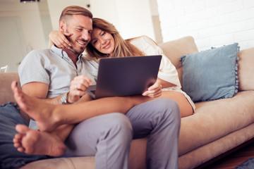 Couple having fun at home