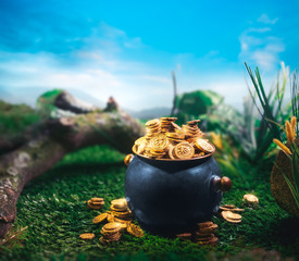 pot full of gold coins in a forest / saint patricks day concept
