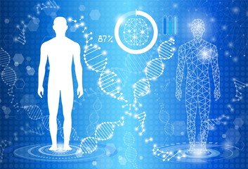 abstract background technology concept in blue light,human body heal, tests analysis clone defective DNA  human,global international medical and technology modern medical science in future