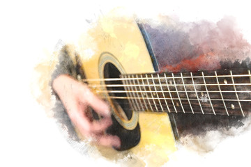 Abstract beautiful playing Guitarist in the foreground, Watercolor painting background and Digital illustration brush to art.