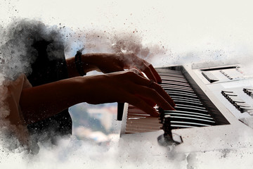 Abstract beautiful hand a woman playing keyboard of the piano foreground Watercolor painting background and Digital illustration brush to art.