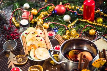 Spiced apples with cinnamon on Christmas festive table