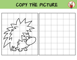 Hedgehog. Copy the picture. Coloring book. Educational game for children. Cartoon vector illustration