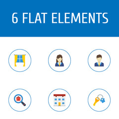Flat Icons Broker, Casement, Magnifier And Other Vector Elements. Set Of Immovable Flat Icons Symbols Also Includes Curtain, Window, Woman Objects.