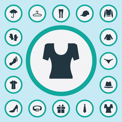 Vector Illustration Set Of Simple Wardrobe Icons. Elements Strap, T-Shirt, Lingerie And Other Synonyms Rack, Winter And Sweatshirt.