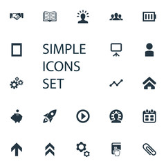 Vector Illustration Set Of Simple Entrepreneurship Icons. Elements Greeting, Global Business, Analytic And Other Synonyms Genius, Index And Gadget.
