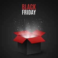 Black and red magic box for sale on a black Friday. Flying light particles and dust on a dark background. Special offer. Super sale. Vector