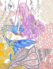 Hand drew mermaid with long pink hair in the underwater world.