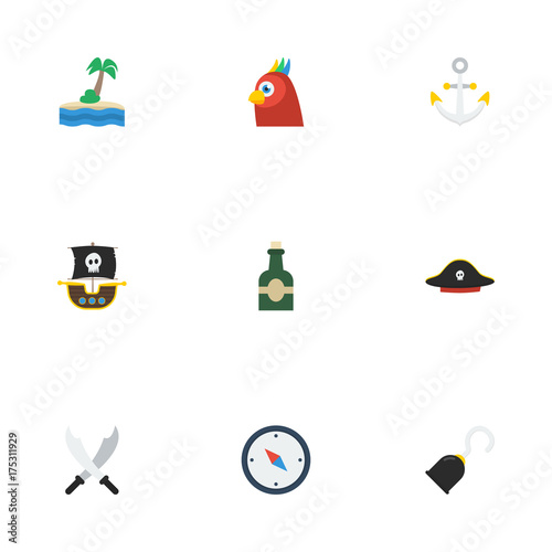 f6749632 Flat Icons Pirate Hat, Vessel, Bottle And Other Vector Elements. Set Of  Corsair Flat Icons Symbols Also Includes Hand, Compass, Drink Objects.