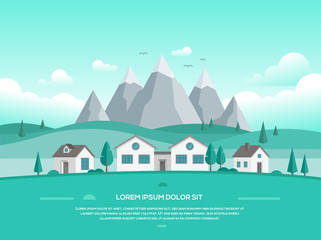 Landscape with houses by the mountains - modern vector illustration
