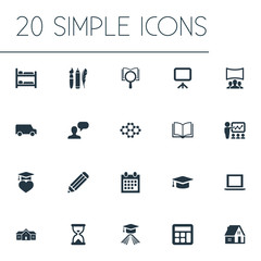 Vector Illustration Set Of Simple Knowledge Icons. Elements Pen, Interactive Lesson, Graduation Celebration And Other Synonyms House, Learning And Truck.